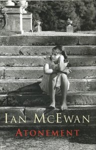 Atonement cover, a girl sitting on steps outside looking regretfully into the distance