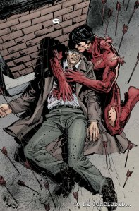 Urich's son as Daredevil cradling a dying Urich