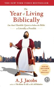 the year of living biblically book cover, a.j. jacobs dressed in robes
