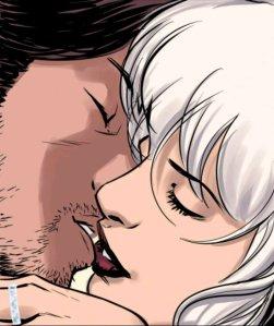 Rogue and Gambit kissing