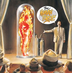 Scientist unveiling the Human Torch