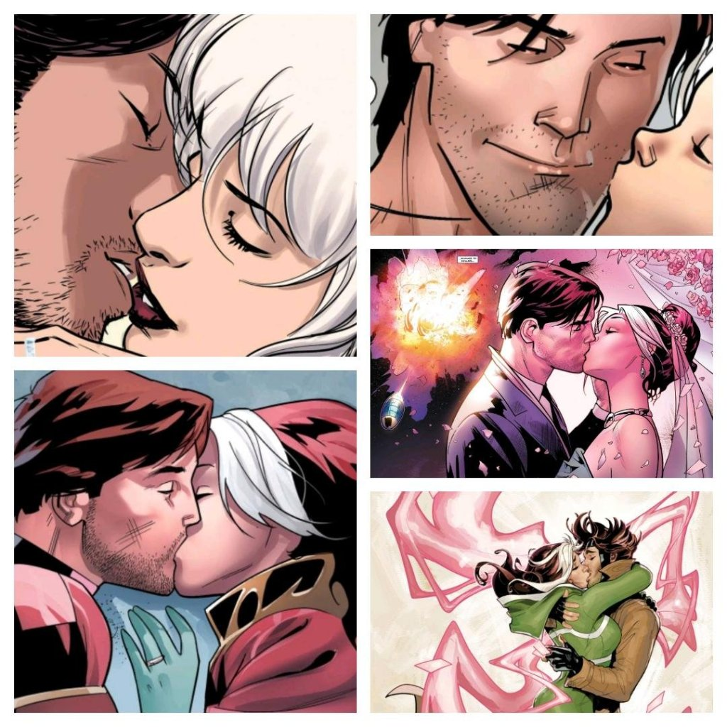 collage of gambit and rogue kissing