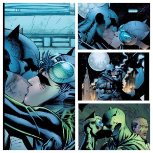 collage of Batman and Catwoman kissing