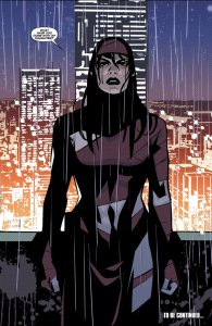 Elektra in the rain asking about her missing daughter
