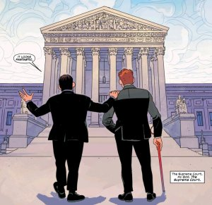 Murdock and Nelson in front of the Supreme Court